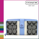"Comfortable coach COACH long wallet [F49077] black white X sky signature stripe PVC accordion zip lady's regular outlet free shipping tomorrow; ""5/11 Shinnyu load ]"" [Father's Day]"