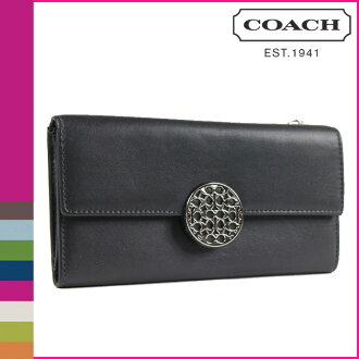 Coach COACH long wallet black leather wallet Womens