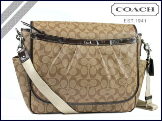 Coach COACH Messenger bag khaki x mother mahogany PVC baby bag bag
