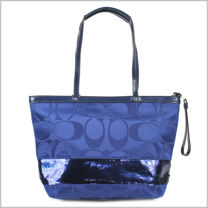 SOLD OUT coach COACH blue X blue signature stripe sequin tote bag