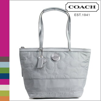 Coach COACH tote bag light grey stitch striped nylon ladies