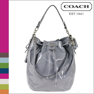 Coach COACH shoulder bag 2-Way dark grey Madison patent leather Mariel DrawString Womens