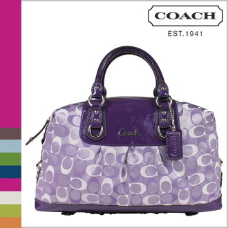 Coach COACH Boston bag 2-Way violet Ashley 3 color signature satin satchel ladies