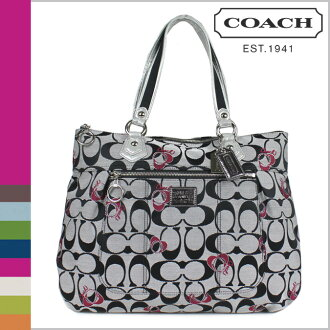 Coach COACH tote bags poppy signature g Tote POPPY SIGNATURE GLAM TOTE BAG BLACK WHITE×SILVER