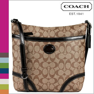 Coach COACH shoulder bag khaki / mahogany signature CHT file bag ladies