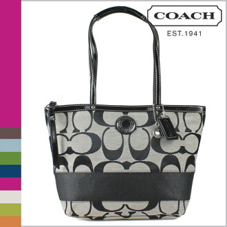 Coach COACH Tote Bag Black x white stripe ladies