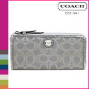Coach COACH F47016 long wallet [Davout] poppy POPPY signature satin metallic slim zip wallet regular outlet free shipping tomorrow comfort [Father's Day]