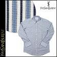 送料無料 イヴサンローラン Yves Saint Laurent Yシャツ [ ブルー×ホワイト ] 545 FRENCH CUFF ストライプ フォーマル コットン メンズ [ 正規 あす楽 ]【バレンタイン】