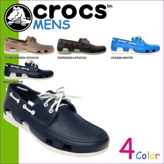 甲板鞋海灘海灘線船鞋男子 14327 海外真正,Crocs 卡駱馳鞋男子涼鞋