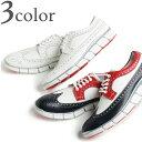 ヒロシツボウチ Hiroshi Tsubouchi ウイングチップ スニーカー 革靴 トリコロール/ホワイト/ブラック