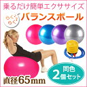 [送料無料] バランスボール 65cm 【2個セット】 空気入れ フットポンプ付き エクササイズボール バランス ボール エクササイズ ダイエット 体幹トレーニング トレーニング ER-BLBL65_2M