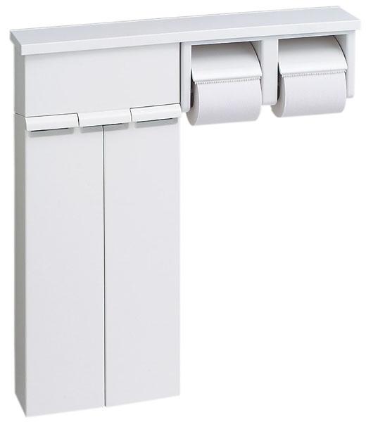 LIXIL、INAX トイレ収納、棚付収納棚(樹脂製棚、2連式紙巻器付)