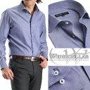 ワイドカラー メンズドレスシャツ/シャンブレーネイビー(ワイシャツ 長袖 ビジネス Yシャツ)