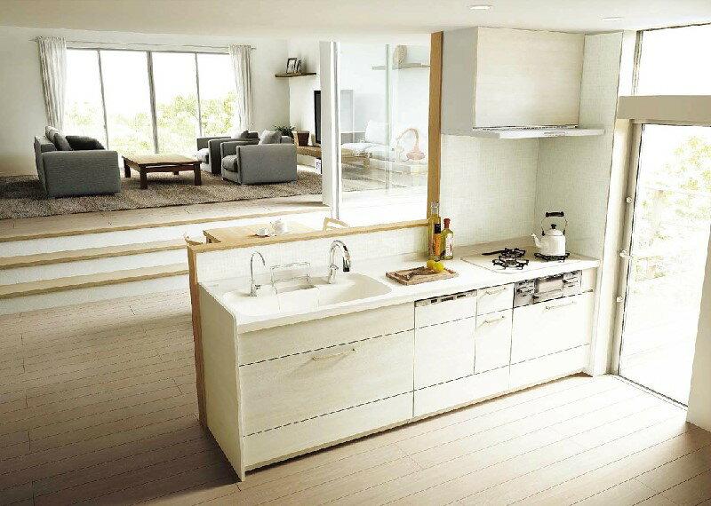 アレスタ Plan7 オープン対面キッチン 壁付I型 システムキッチン キッチン部のみ サンウェーブ/リクシル