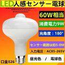 【時間限定】LED電球 センサー付きLED電球口金E26 60W相当ひとセンサー電球自動点灯/消灯