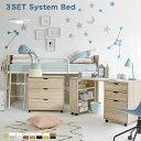 子供部屋 システムベッド デスク付き ロフトベッド 学習机 コンパクト ミドル ミドルタイプ 木製 子供 机付き 机 ミドル デスク システムベッドデスク デスク付きロフトベッド かわいい シングル 収納 多機能 ベッド