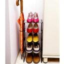 玄関の隙間に靴5足を立体収納!縦にコンパクトに収納できるシューズラック。傘を2本立てられま...