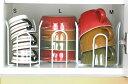 [えつこの重ねて安心ラック SML3点セット] 収納 キッチン 食器棚 カップ お皿 地震対策 ホワイト 日本製