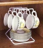 杯碟可以采用紧凑型客分6。把一杯钩(挂),它带出美丽的图案。在存储柜。白色(白色)。日本制造。 Nyukappurakku的悦子[えつこのニューカップラック 05P13Nov14]