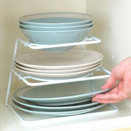[えつこのニュー<strong>プレートラック</strong>] 収納 キッチン 食器棚 お皿 地震対策 ホワイト 日本製