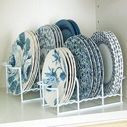 [えつこの<strong>プレートスタンド</strong>ラック 大・小2個組] 収納 キッチン 食器棚 お皿 プレート ディッシュ 地震対策 ホワイト 日本製