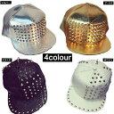 ●2100● 4カラースタッズ付き レザー風 キラキラ 帽子...