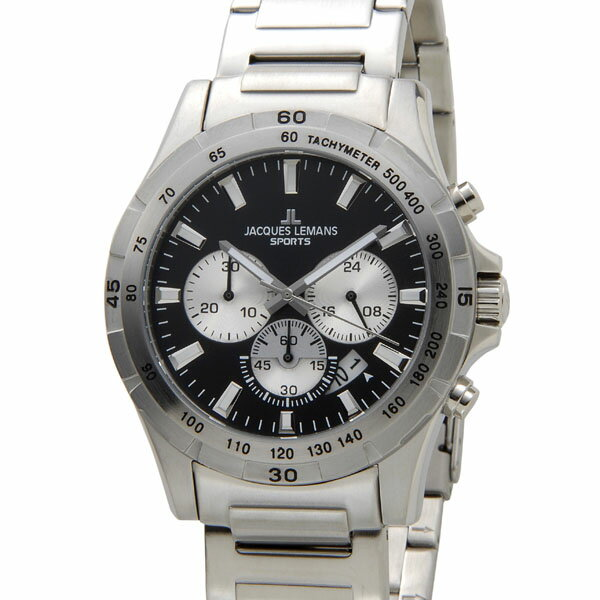ジャックルマン JACQUES LEMANS 腕時計 メンズ 1-1670F1 モントリオール 43mm クロノグラフ ブラック ジャックルマン 腕時計 JACQUES LEMANS