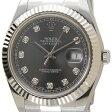ロレックス ROLEX 116334 G-DGY デイトジャストII ダイヤモンド10P グレー×シルバー メンズ 腕時計 送料無料