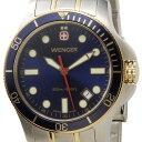 ウェンガー WENGER 72346 メンズ腕時計 バタリオン 200m防水 ブルー/ゴールド/シルバー ミリタリー アウトドア 時計 新品 送料無料