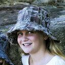UVカット 帽子 子供用 - キッズ ハット - ファンキー バケット 帽子 uv カラー:ライトブラウン/フローラル ※紫外線カット率最高値UPF50+