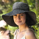 ショッピング母の日ギフト ハット レディース UVカット 帽子(女性用) つば広 帽子 uv 夏 - ワイド ブリム .リンネル ハット レディス ladies レデイース ウィメンズ カラー:シャイニー チャコール ※紫外線カット率最高値UPF50+ 母の日 ギフト