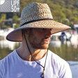 UVカット 帽子(男性用) - メンズ ハット - メンズ ストロー サーフ ハット ★【農作業 帽子 ガーデニング 帽子 UV 帽子 日よけ 帽子】【帽子 メンズ おしゃれ 紫外線 春 夏】【麦わら帽子 メンズ 麦わら帽子 農作業 つば広 大きいサイズ 登山】
