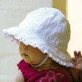 【レビューでメール便可】UVカット 帽子(ベビー用) 新生児 帽子 - ベビー ハット- フリル ベビーズ ボンネットカラー:ホワイト ブロケード※紫外線カット(UVカット)最高値UPF50+