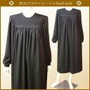 SunLook日本製【送料無料・卸】大きいサイズ(Lサイズ)ブラックフォーマルワンピース*たっぷりギャザーふんわりワンピースの女性礼服・喪服