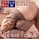 【ポイント10倍〜11/24】 スタイリッシュ 羽毛布団 シングル グース 日本製 二層式 ロシアンシルバー グースダウン 93% 【R&B】…