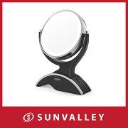 化粧ミラー Anjou LED 卓上ミラー 両面鏡 7倍 拡大鏡 360度調整可能 単三電池付