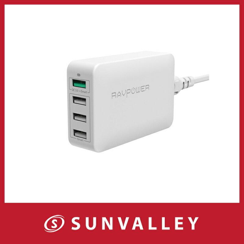 Quick Charge 3.0 急速充電器 RAVPower 40W 4ポート USB充電器 (急速充電 iSmart出力自動判別) Galaxy S8/Plus/S7/Edge/Xperia/Nexus 6/iPhone/iPad スマホ タブレット モバイルバッテリー 等対応