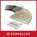 Sable ハンガー すべらない 30本組 ネクタイハンガー 付き 特殊起毛加工 360°回転可 スリム クロゼット 収納