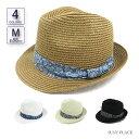 帽子 シックネイティブ柄帯ペーパーハット 麦わら日よけメンズ レディース 男性用 女性用 58cm 紫外線対策 UVカット