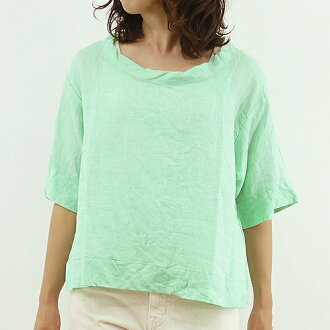 Slone square スロンスクエア linen chambray bias switching pullover blouse, 8600 linen プルオーバーレディース