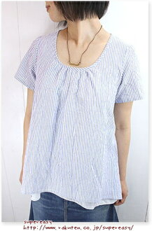 Liner Notes liner 50 ボイルワッシャーストライプ double-short-sleeved blouse and 07523 ladies