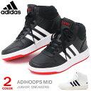 adidas アディダス キッズ ハイカットスニーカー ジュニアシューズ 白 黒 男の子 女の子 靴紐 ADIHOOPS MID 2.0 K