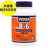 ビタミンB6 100mg 250粒[サプリメント/健康サプリ/サプリ/ビタミン/ビタミンB6/now/ナウ/栄養補助/栄養補助食品/アメリカ/国外/カプセル/サプリンクス/通販/]
