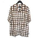 ショッピングドローン ステューシー STUSSY HAND DRAWN GRID シャツ 半袖 開襟シャツ オープンカラーシャツ 1110132-OFFWHITE