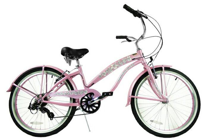 ★SALE★グリーンライン ビーチクルーザー Greenline(USA) 7406PL  24インチ 7Speed Pink 自転車 【送料無料】簡単にエコ運動に参加できる乗り物!ここだけで買える限定ブランドです!