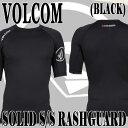 VOLCOM/ボルコム メンズ半袖ラッシュガード SOLID S/S BLACK UPF50+ 男性用水着 UVカット 0111600_02P01Oct16