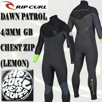 RIP CURL/リップカール 4/3mm DAWN PATROL CHEST ZIP LEMON/BLACK フルスーツ WET SUITS/ウェットスーツ 送料無料 男性用 メンズの画像