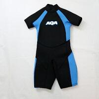 AQA キッズスーツスプリングII ウェットスーツ KW-4504A ブラック×ライトブルーの画像