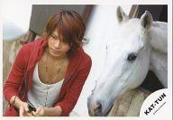 【中古】生写真(ジャニーズ)/アイドル/KAT-TUN KAT-TUN/上田竜也/横型・バストアップ・衣装パーカー赤.白・両手に草・馬/公式生写真