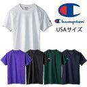 ショッピングワッペン チャンピオン Champion USAサイズ tシャツ 袖ワッペン ホワイト ブラック ネイビー ダークグリーン パープル M L XL 2XL t425